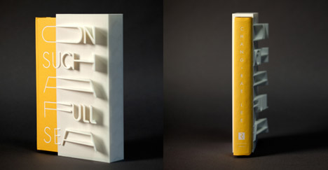 3D-printed book cover of On Such a Full Sea by Chang-rae Lee created by MakerBot