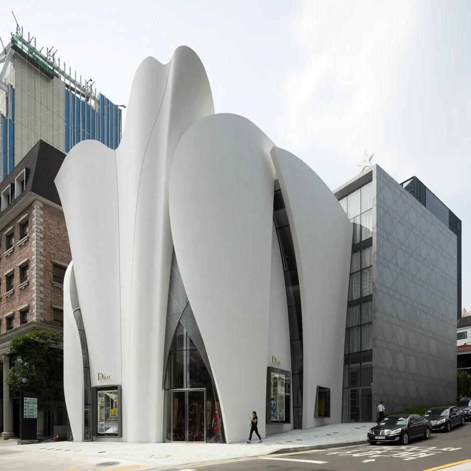 Saillike panels based on drapery envelope Dior shop in Seoul