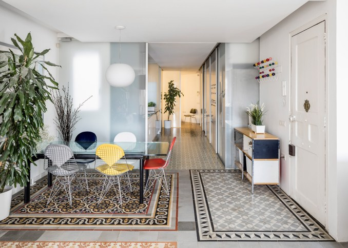 Barcelona apartment renovation by Narch revealing mosaic floors