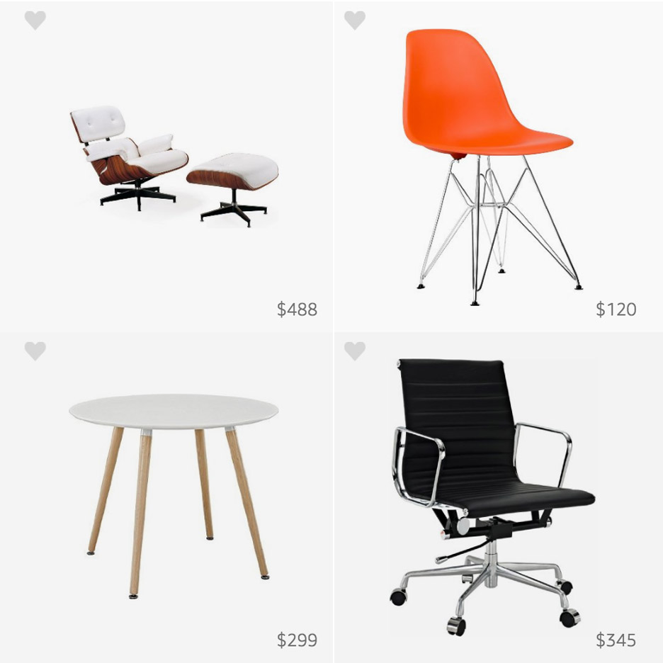 eames chair amazon sam s club desk chairs celebrates birthday with pinboard of knockoffs