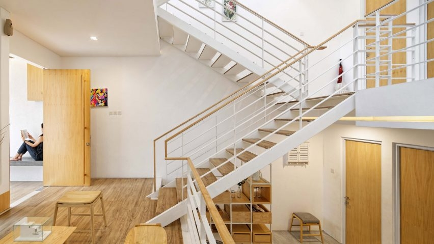 Multiple Mezzanines Are Connected By An Open Stair In Jakarta House   Two Story House Stair Design   Upstairs   Mansion   Small Space   Front Entrance   Double Door Main Hall Door