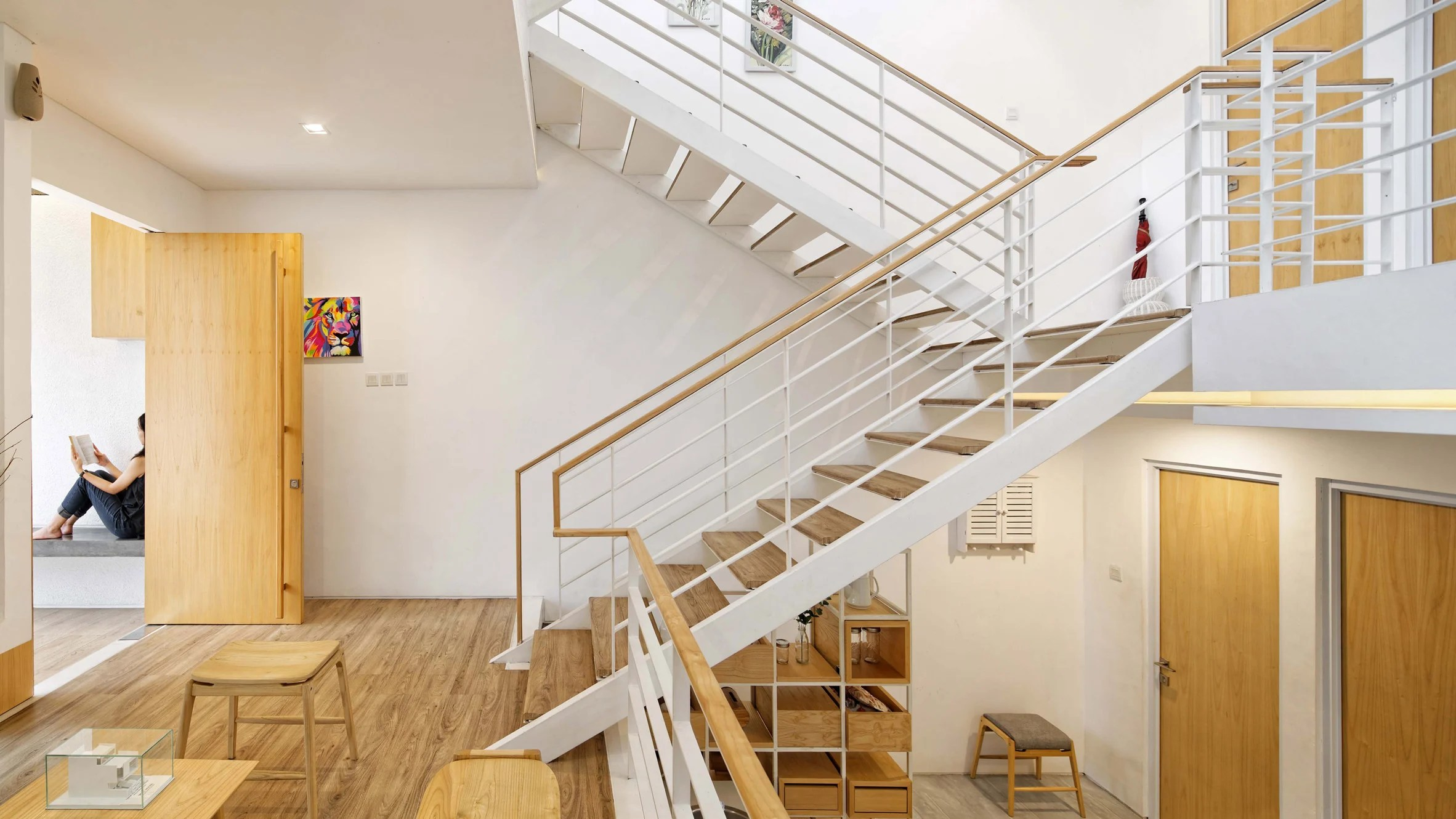 Multiple mezzanines are connected by an open stair in