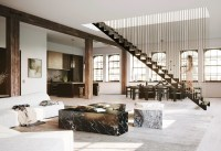 Hanging staircase divides spacious New York loft by DJDS