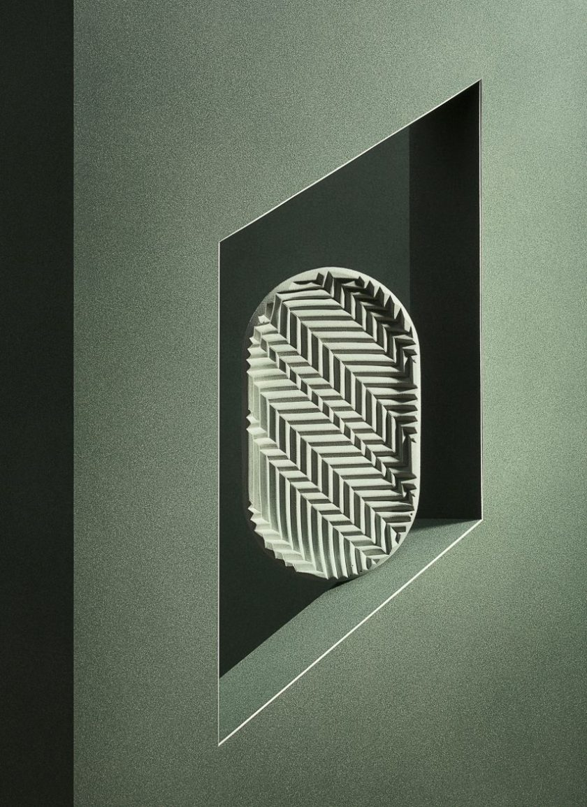 Phill Cuttance adds to his collection of Jesmonite herringbone objects