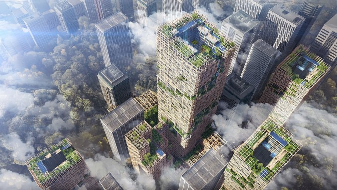 A visual of the timber W350 skyscraper