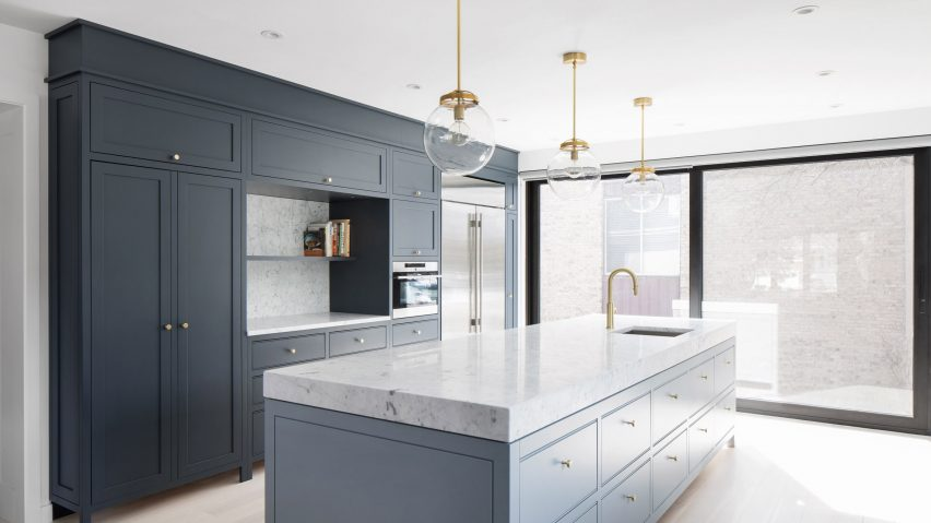 renovated kitchen navy blue decor robitaille curtis pairs dark and light hues in montreal