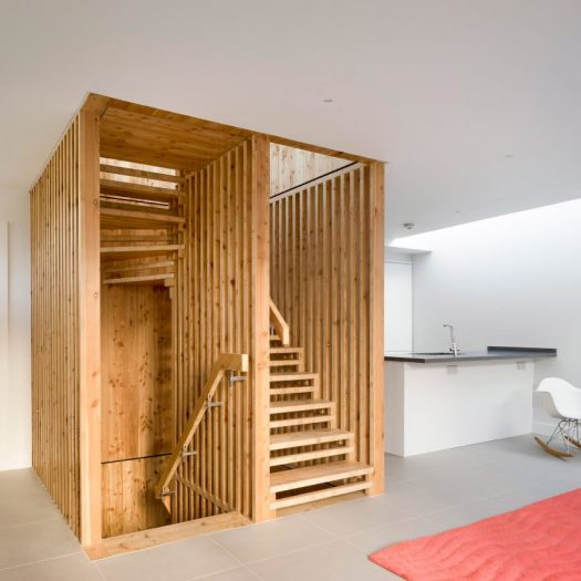 Hundreds of timber components slot together to form statement staircase at WG+P's Askham Road house