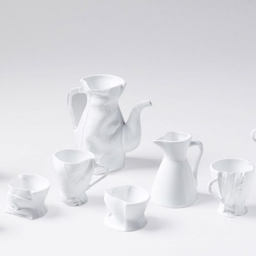 "Zhekai Zhang's creates ""imperfect"" ceramics using fabric moulds"