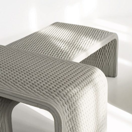 Woven concrete benches by Studio 7.5 and XstreeE