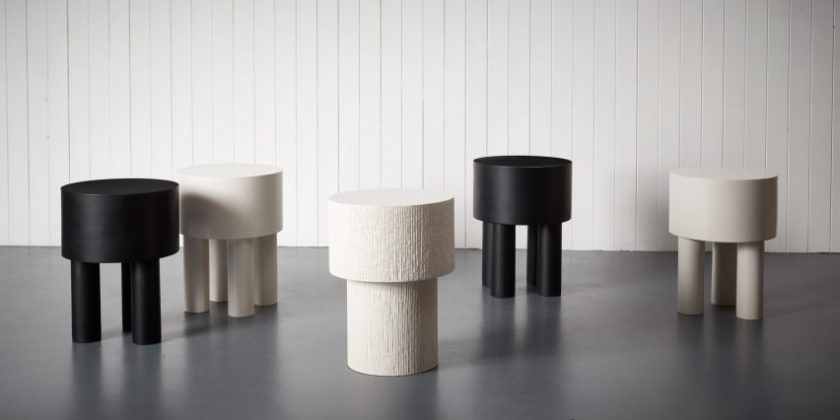 Malgorzata Bany installs jesmonite furniture at The New Craftsmen for LDF exhibition