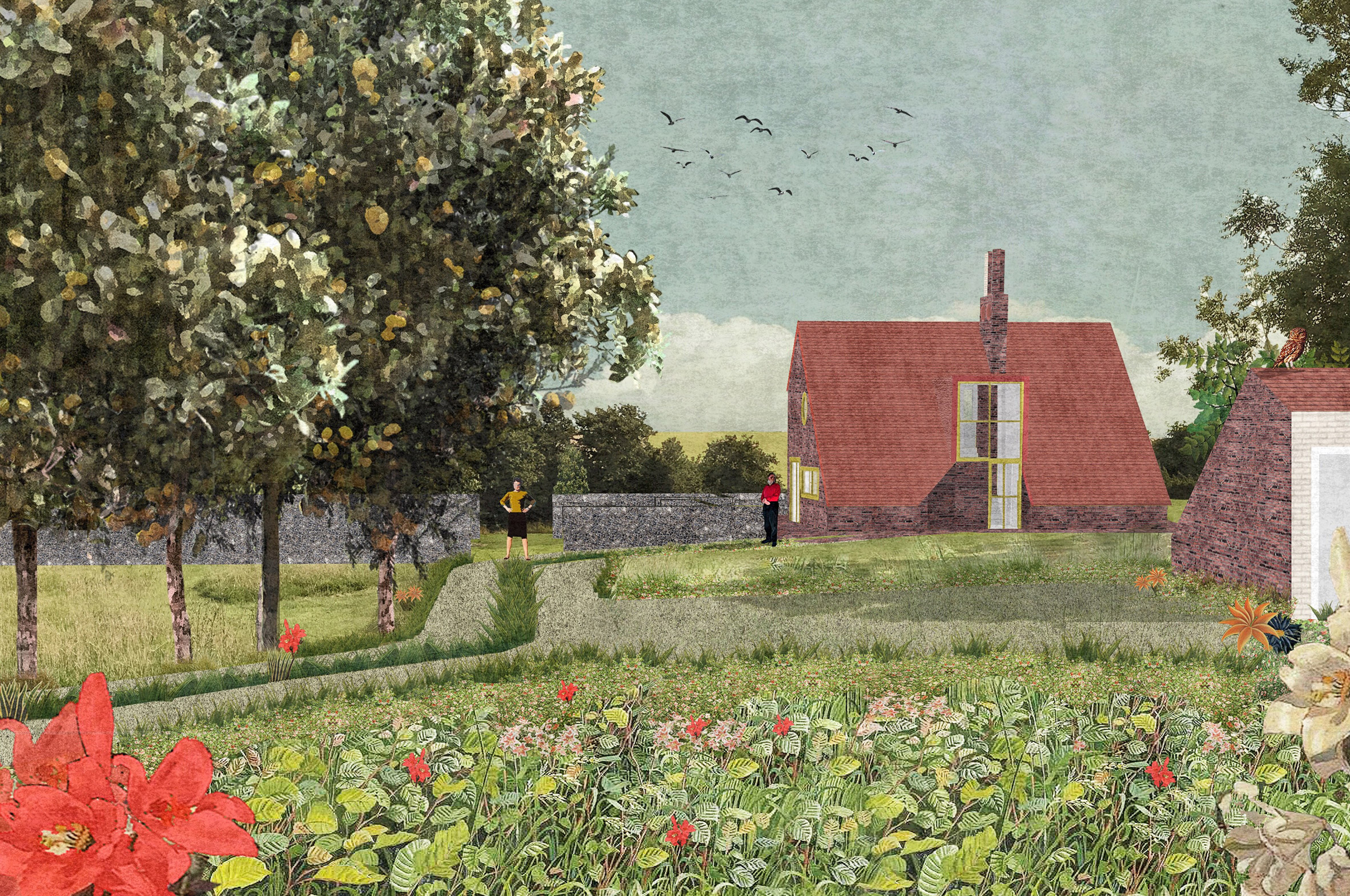 Visual of the front elevation of Charles Holland Architects' country house in Kent