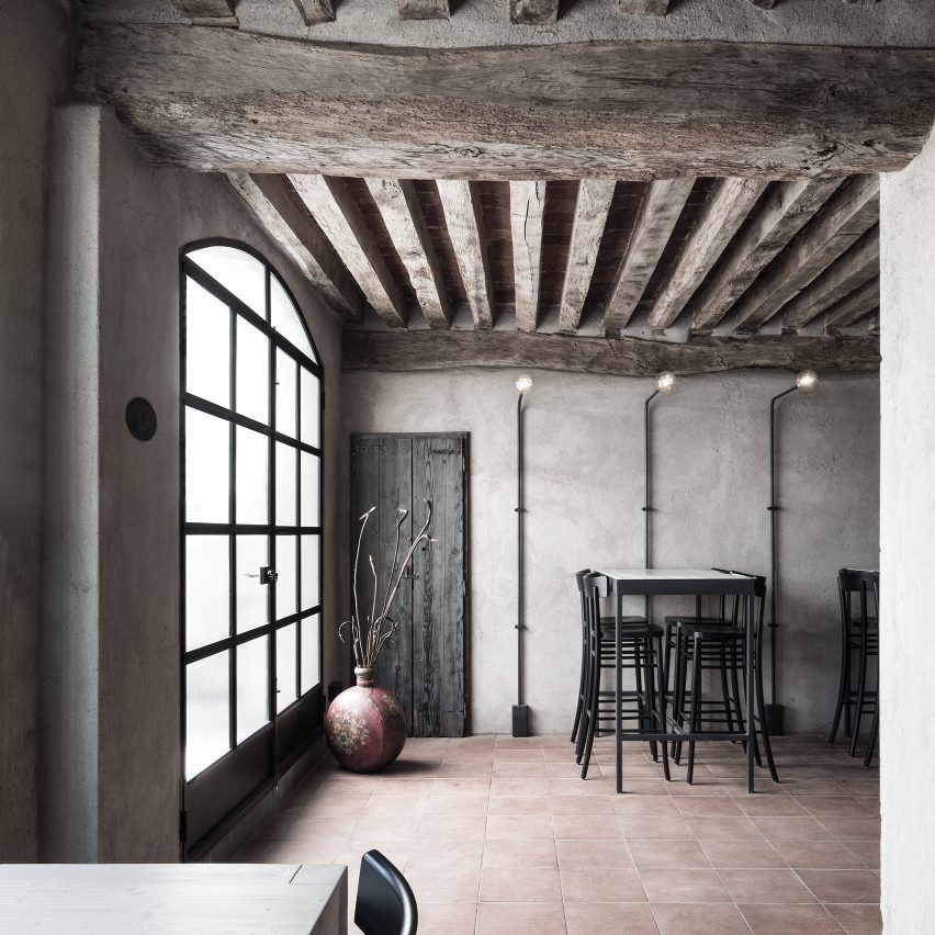 Earthy Tones Feature Through La Ganea Restaurant Inside Converted Italian Farmhouse