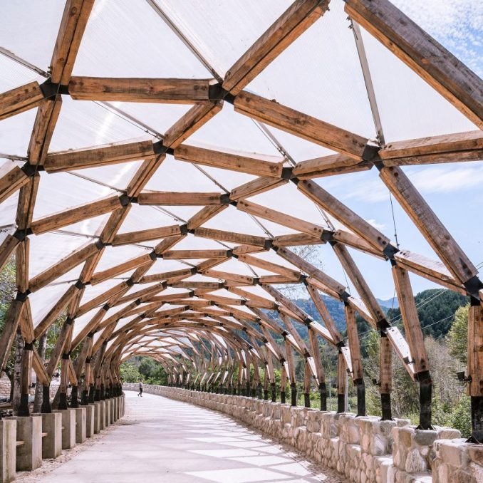 LUO Studio's Luotuowan Pergola reuses wood salvaged from traditional houses