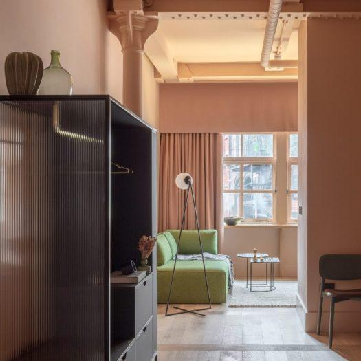 Interiors of Whitworth Locke Manchester hotel, designed by Grzywinski + Pons