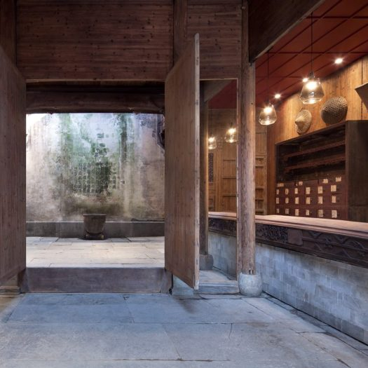 Interiors of Wuyuan Skywells hotel, designed by anySCALE Architecture Design