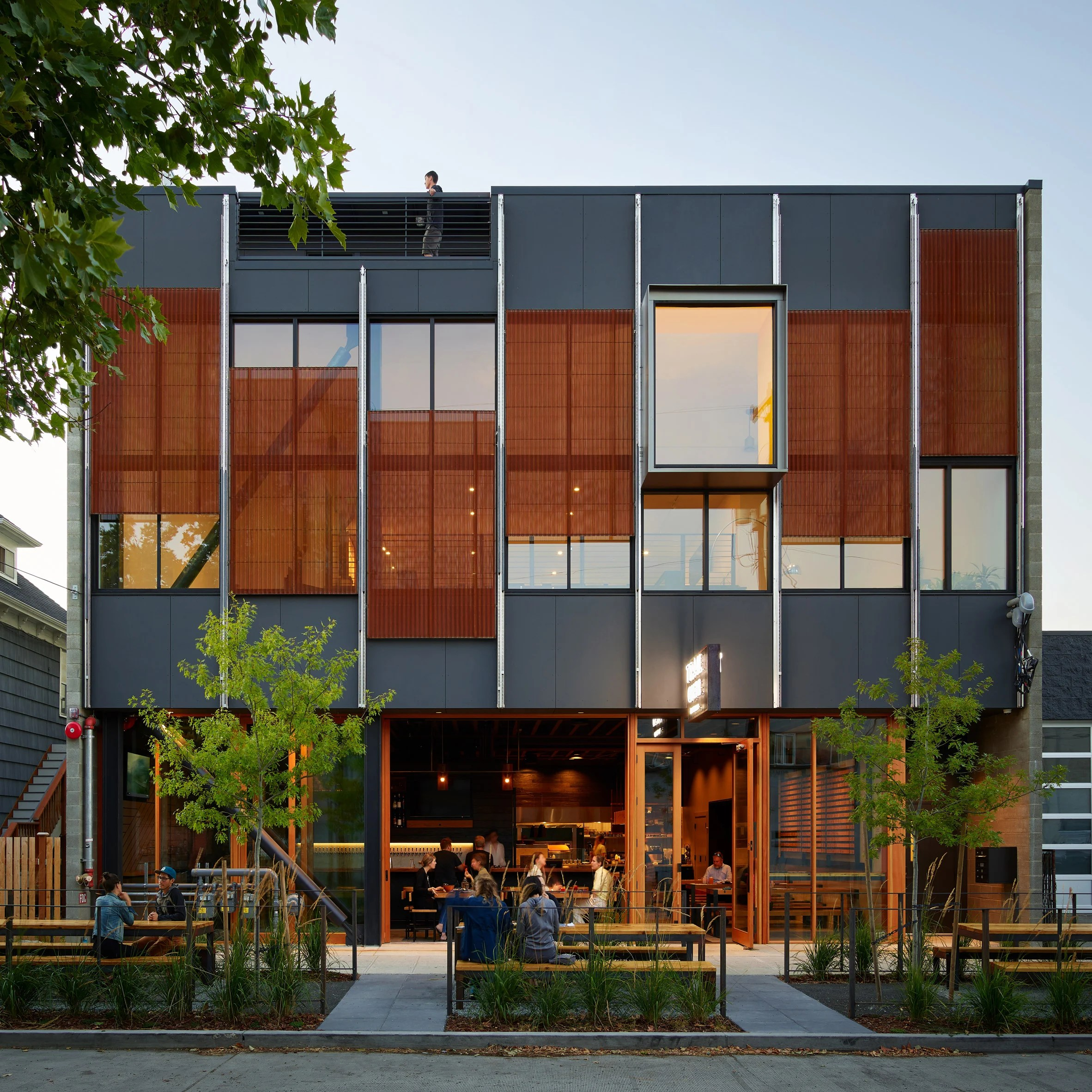 Trailbend Taproom restaurant and beerhall in Seattle Washington by Graham Baba Architects