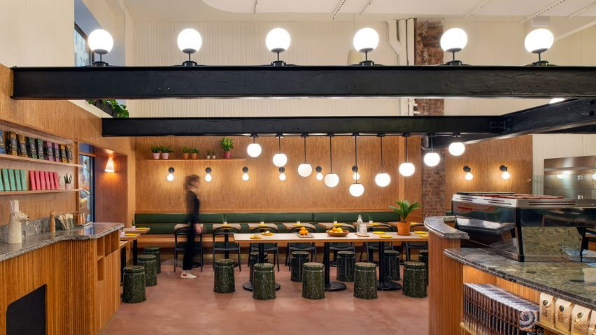 Pink-painted Concrete, Cherry Wood And Cork Feature In Manhattan Bakery By GRT Architects