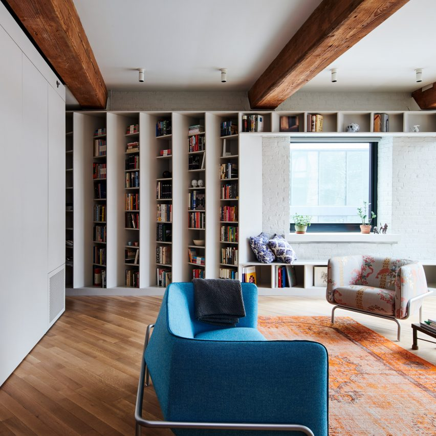 Angled Bookshelves Define Publisher's Loft By Buro Koray Duman In Brooklyn