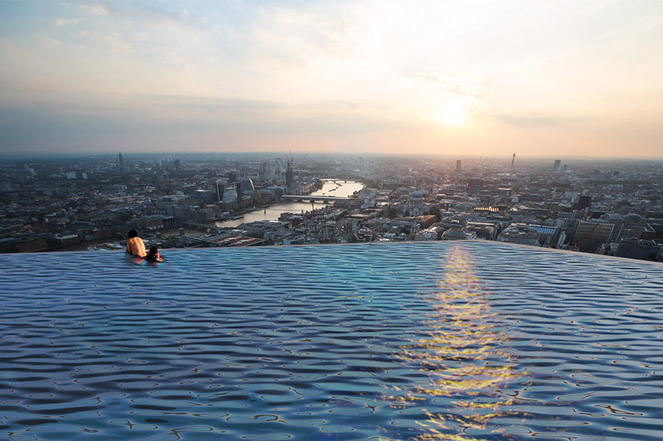 Compass Pools has unveiled their concept for a four-sided infinity pool designed to sit on a 220-metre tower in London and accessed via a submarine-style door