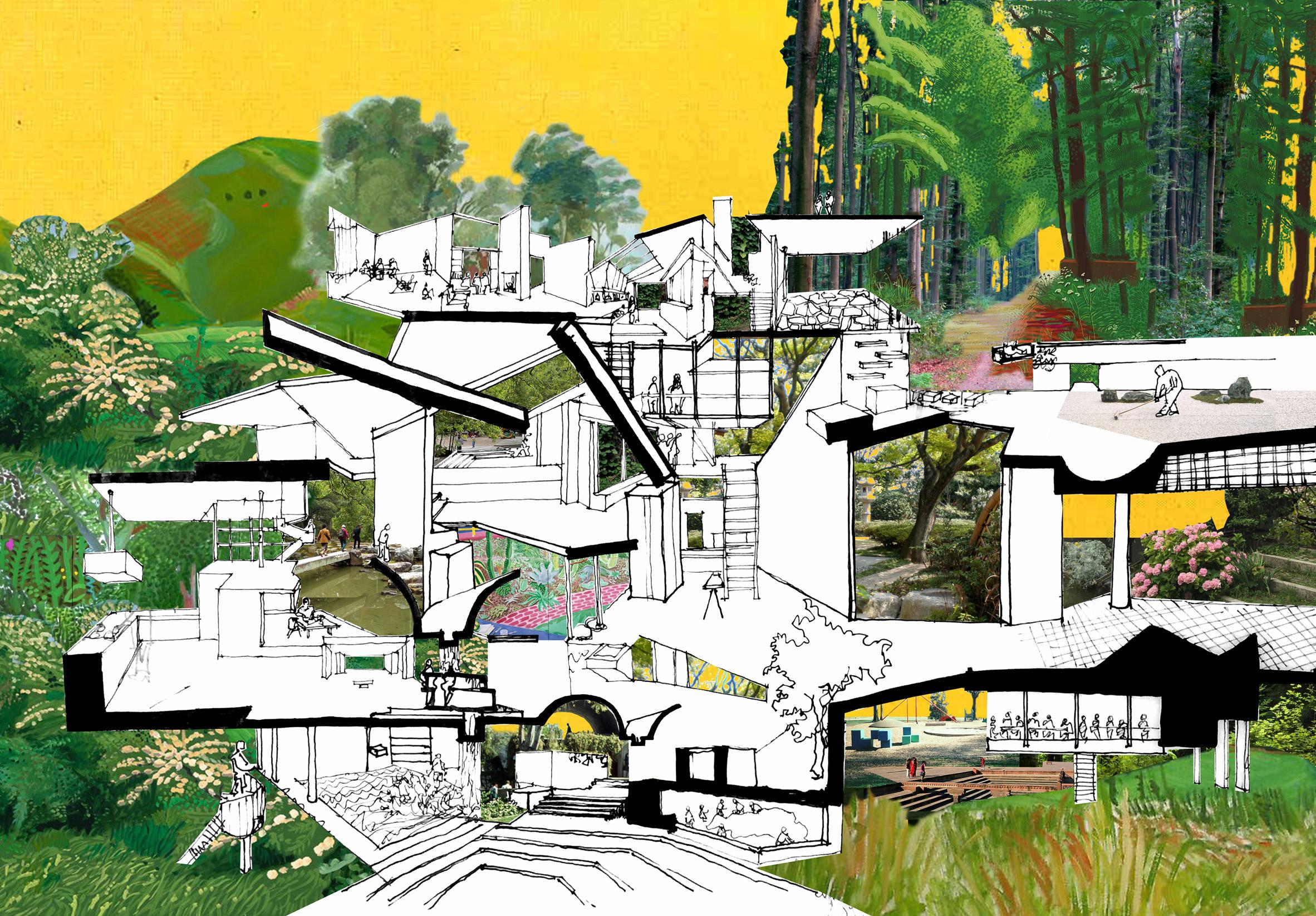 Ways of Life house collage by Tatiana Bilbao Estudio