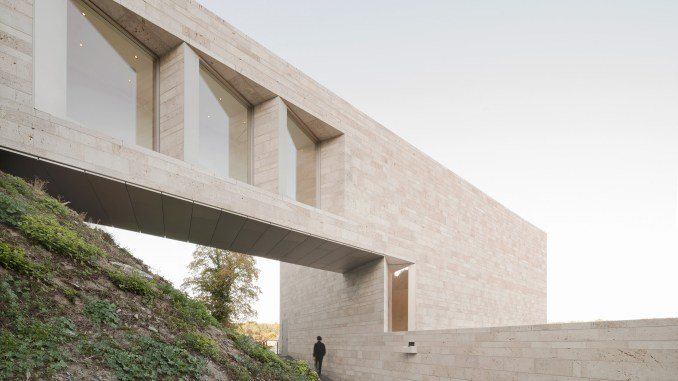 A museum covered in polished travertine tiles
