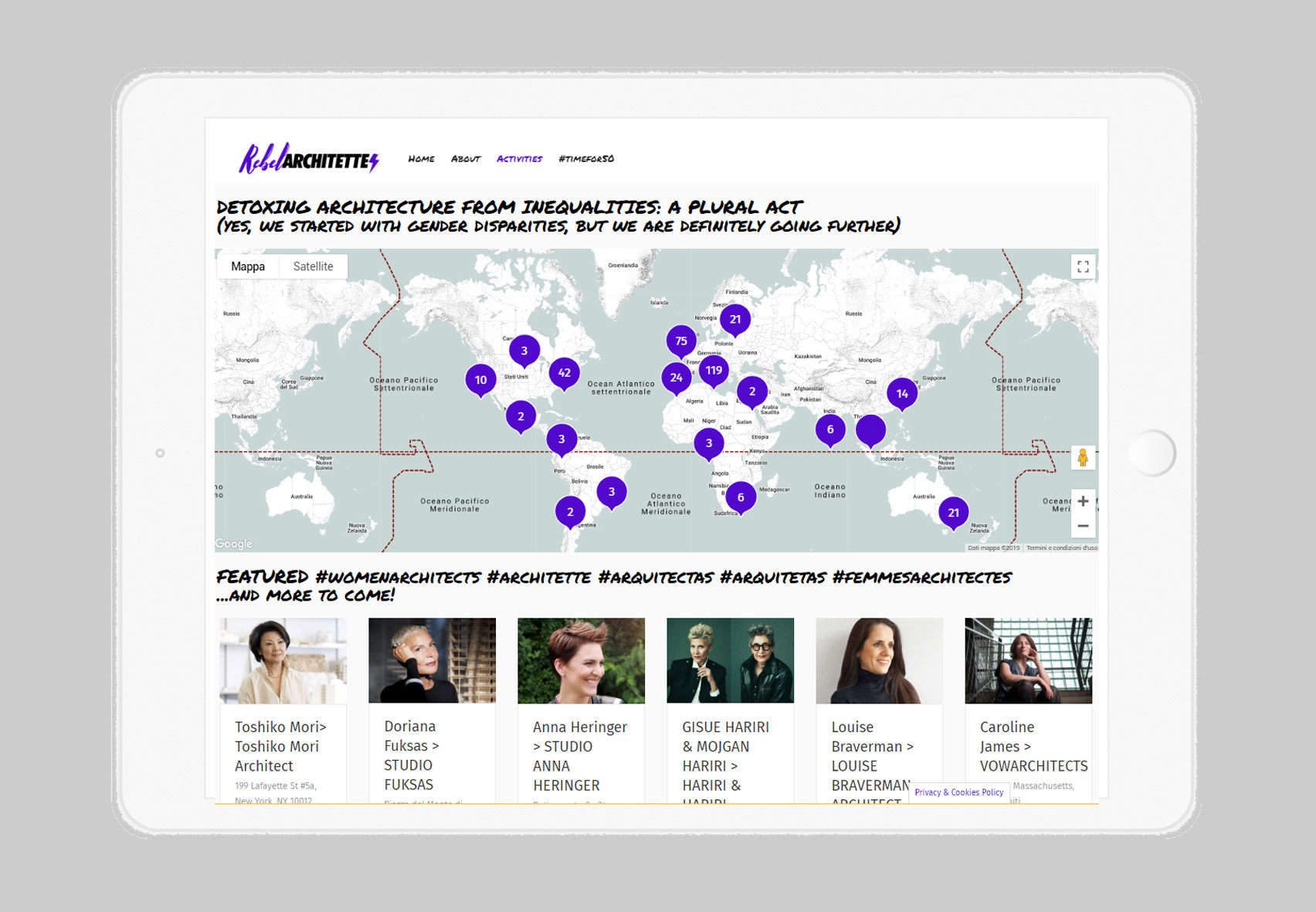 Women Architects World Map by Rebel Architette