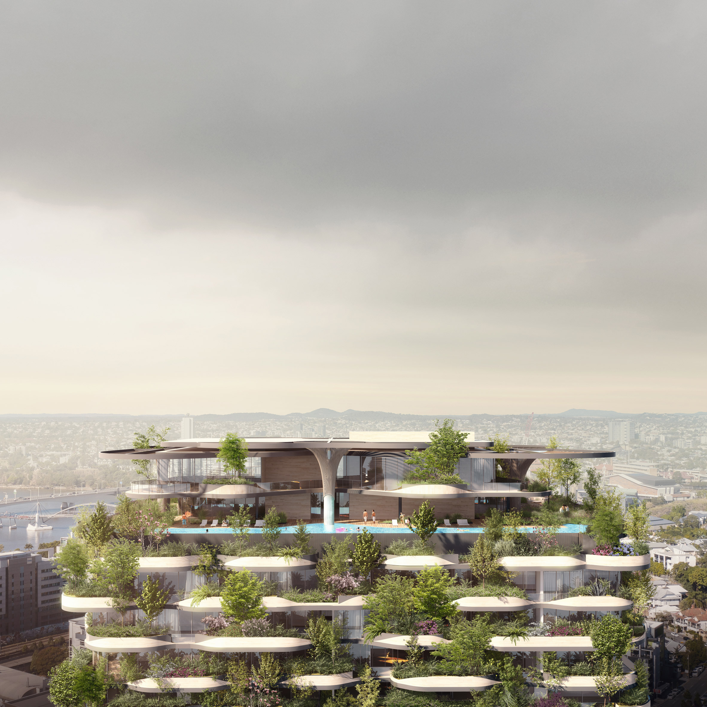 Rooftop garden of Urban Forest high rise apartment building in Brisbane by Koichi Takada Architects