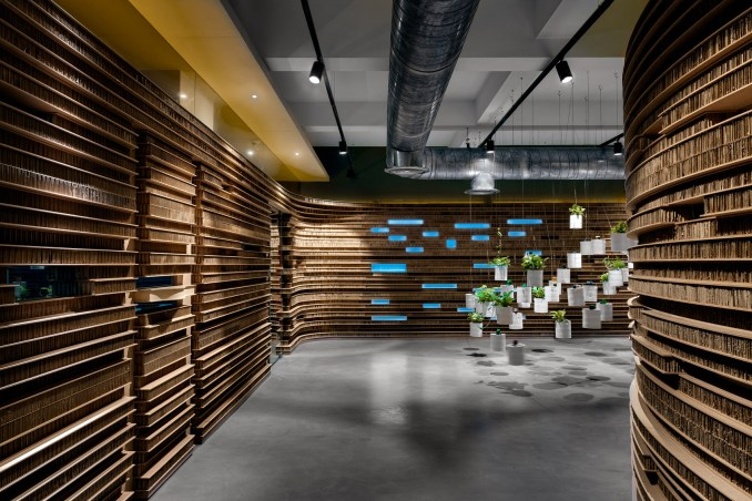 Installation of planters in Walls of of Office in Cardboard by Studio VDGA in Pune, India
