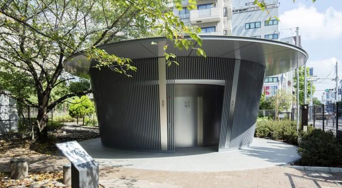 Circular toilet by Tadao Ando in Jingu-Dori Park as part of Tokyo Toilet project