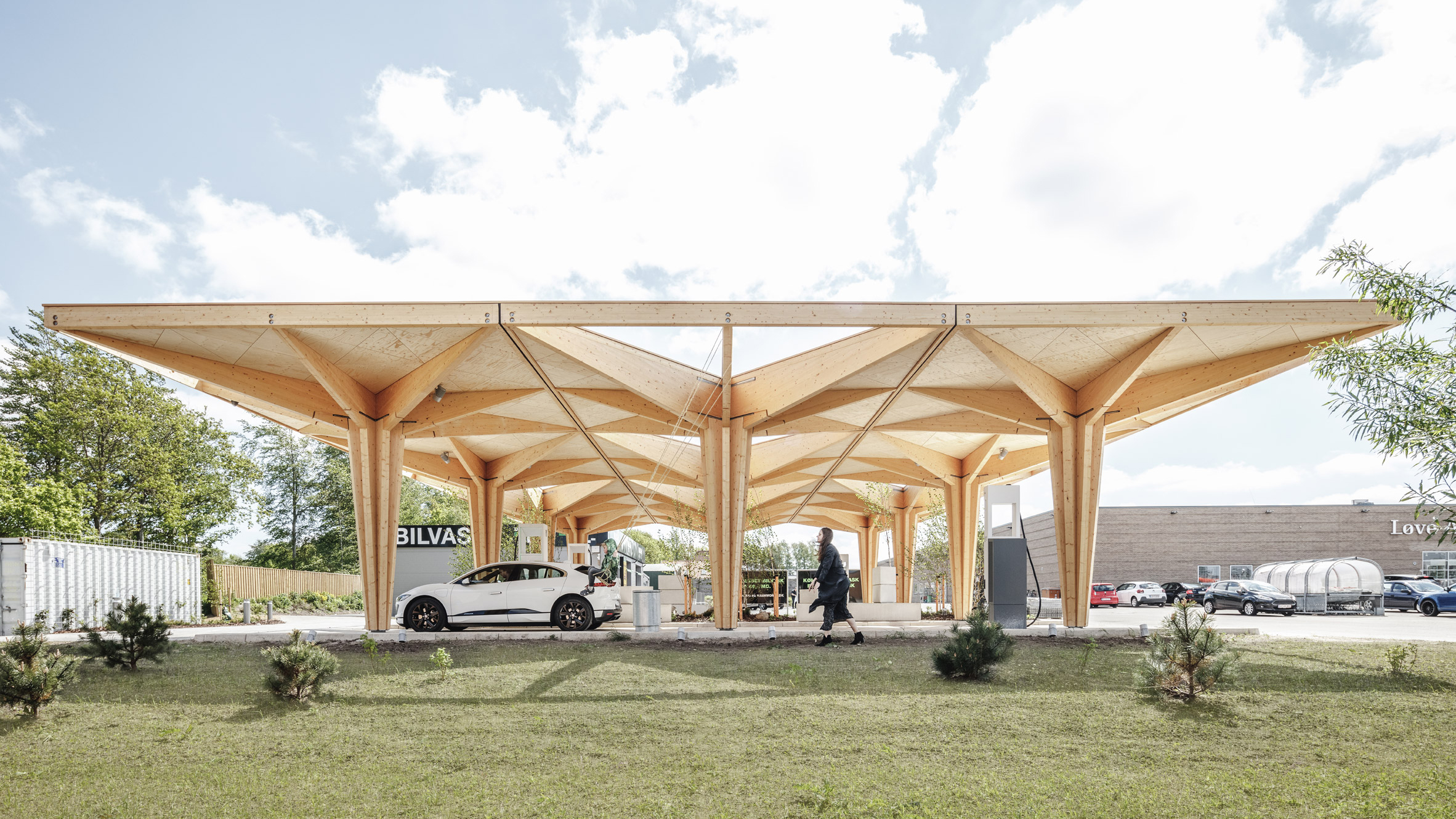 Electric car charging stations in Fredericia and Knudshove by Cobe