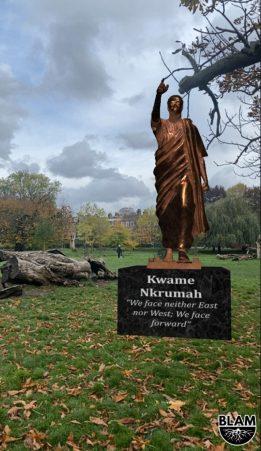 Une statue AR de Kwame Nkrumah de l'application BLAM Black History