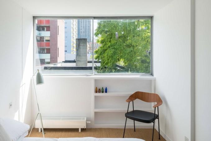 Bedroom window in Golden Lane flat by Archmongers