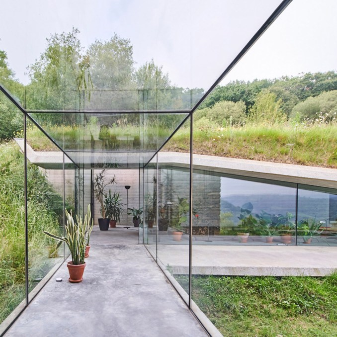 The glass walkway in Landaburu Borda house, Spain, by Jordi Hidalgo Tané