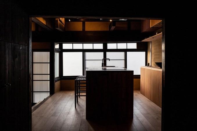 Kitchen inside Maana Kamo guesthouse by Uoya Shigenori