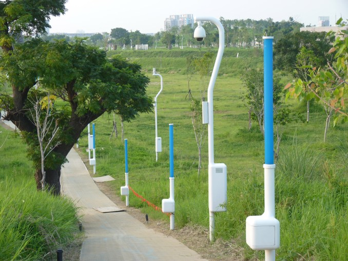 Lamposts scare off mosquitos in Phase Shifts Park