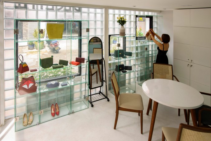 Shop with glass brick walls