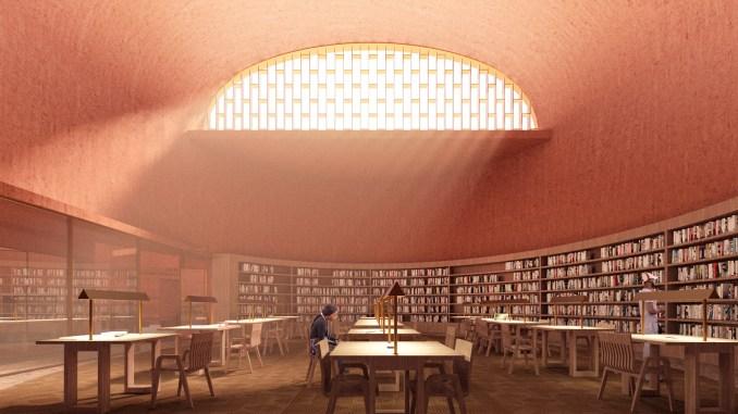 Reading centre inside of Adjaye Associate's proposed Thabo Mbeki Presidential Library