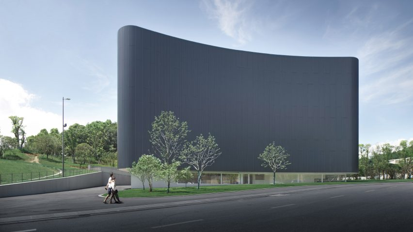 La façade avant du musée d'art et d'éducation de Humao par Álvaro Siza et Carlos Castanheira