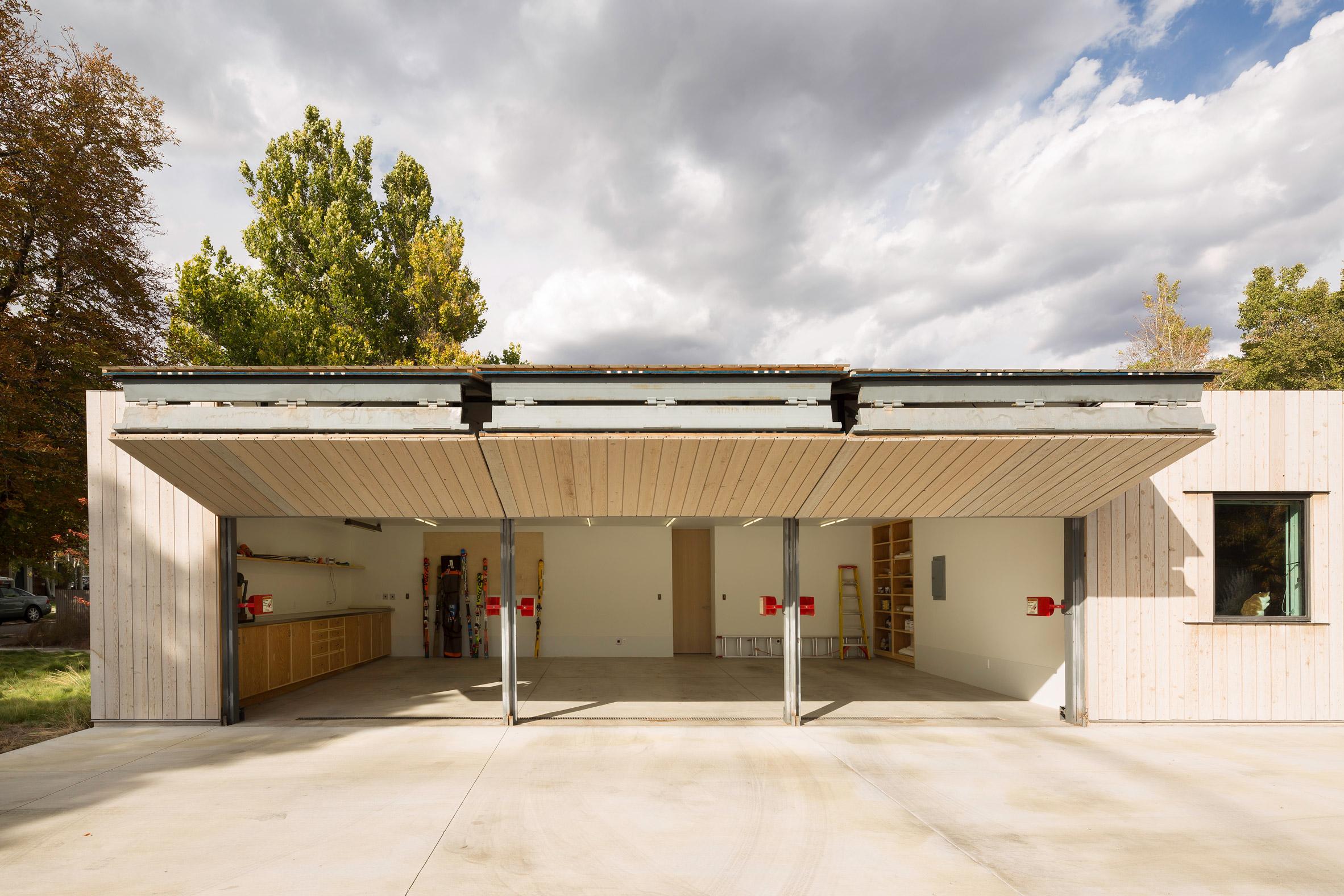 Garage of cedar-clad house in Utah