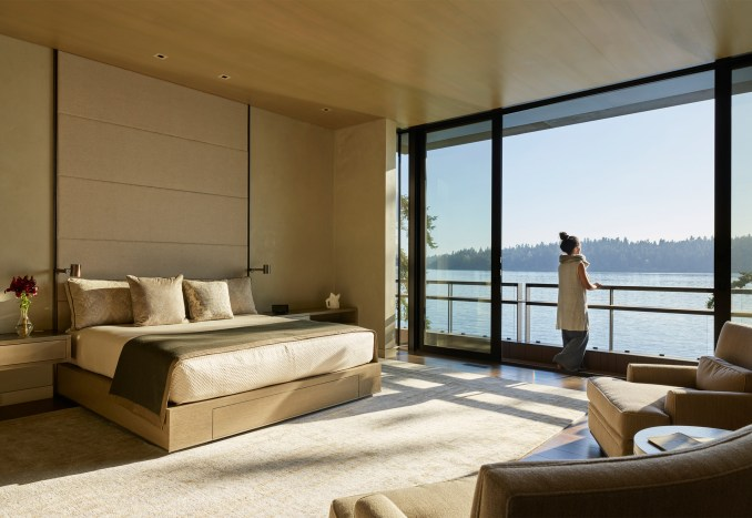 Bedroom of Lakeside Residence by Graham Baba Architects