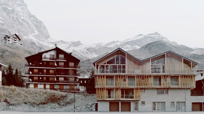 A pair of chalets in the Italian village of Valtournenche