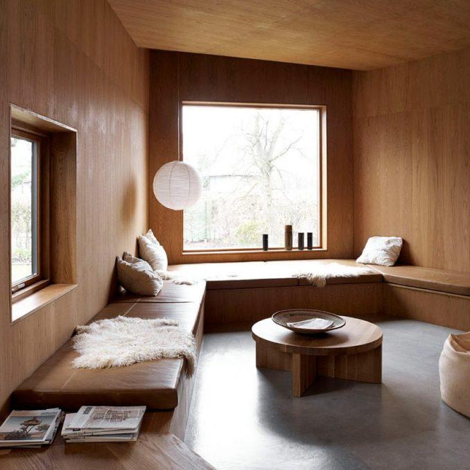 Wood-clad living room in Denmark