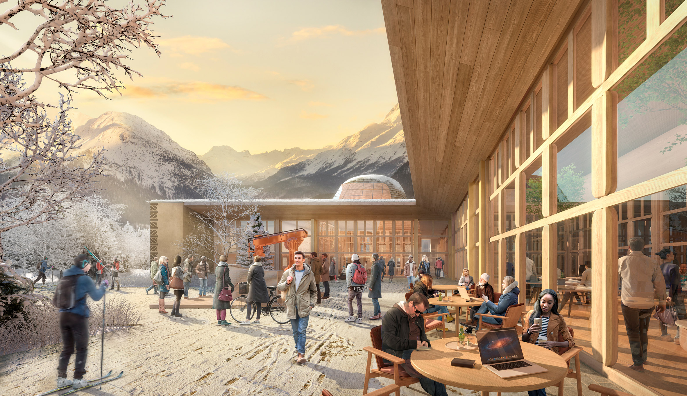 The larch-clad exterior of an innovation hub in the Swiss Alps
