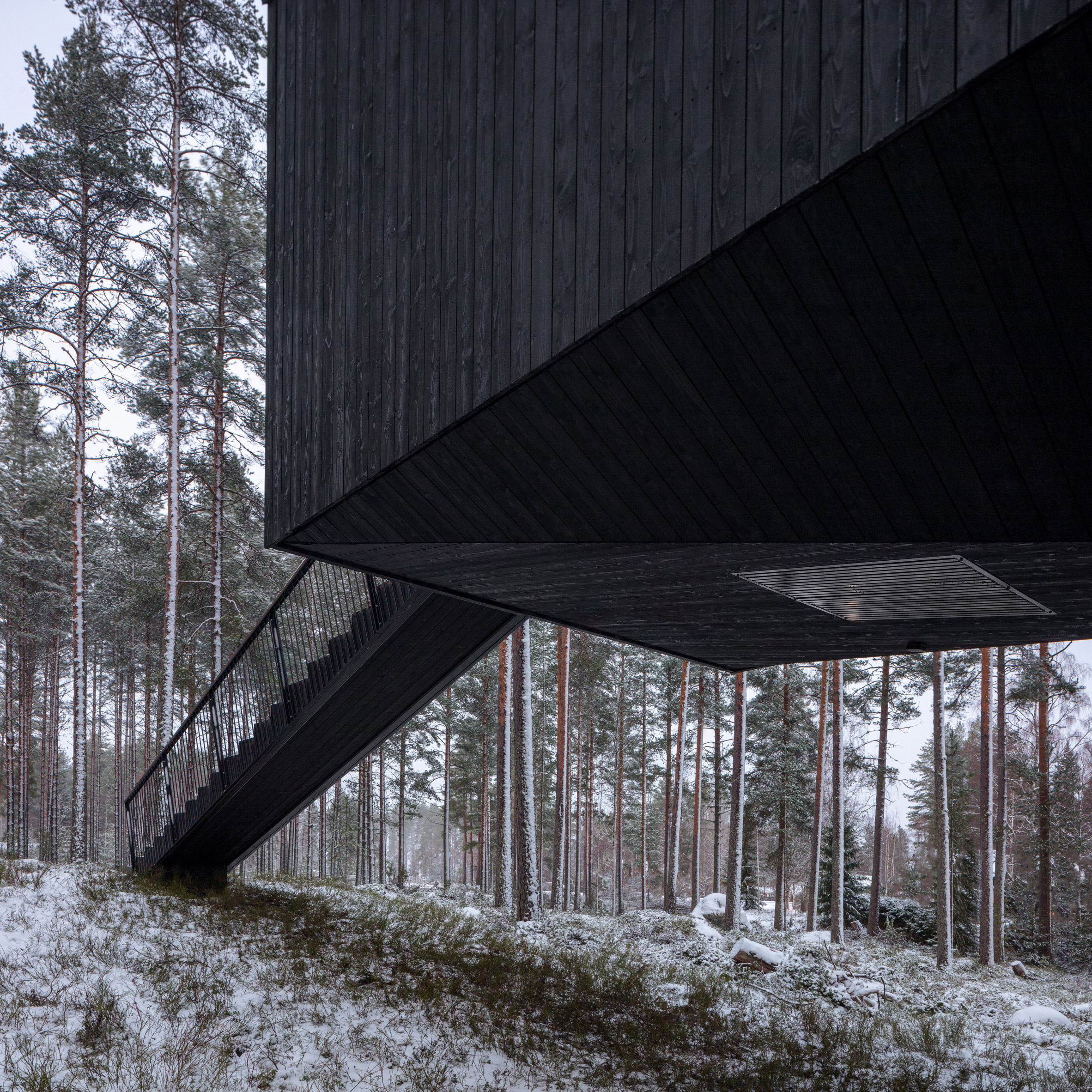 An elevated cabin with black-painted wood cladding