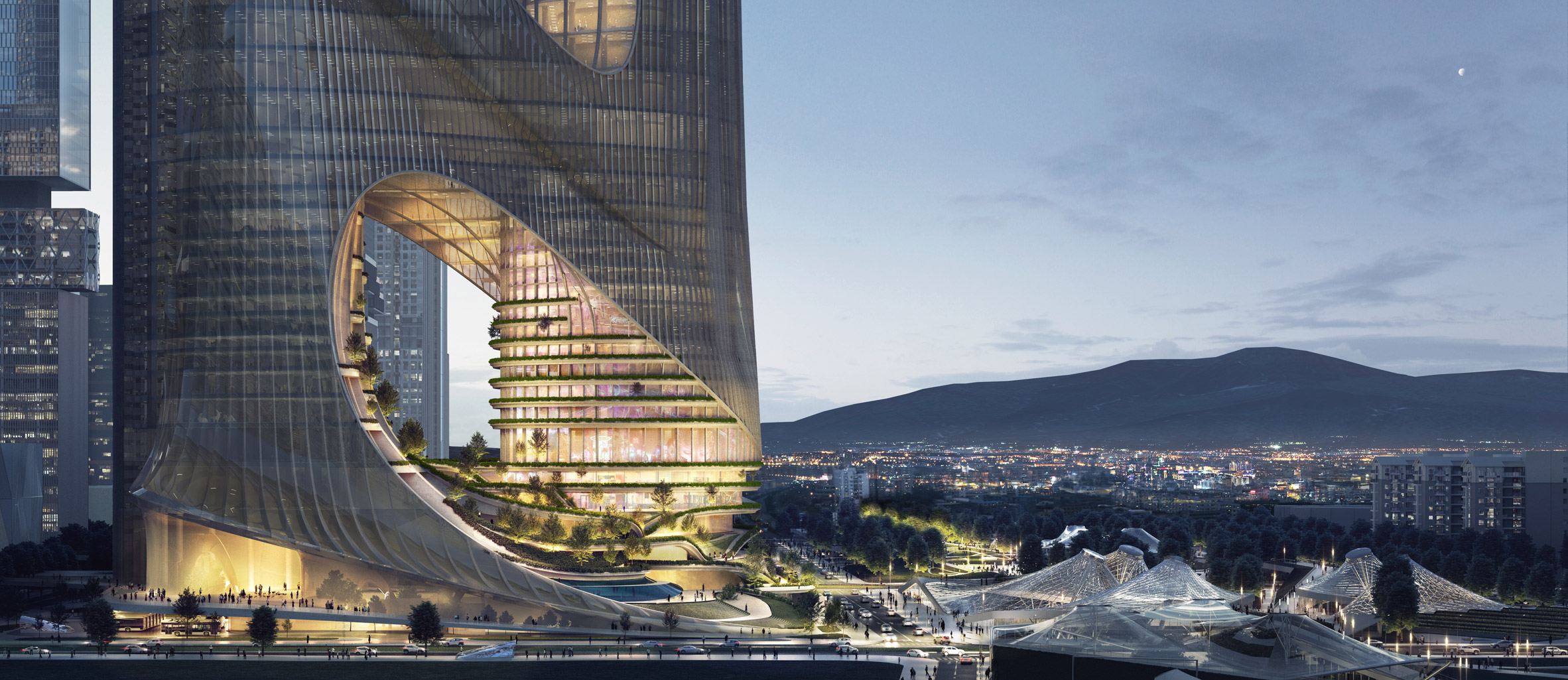 A visual of the Tower C terraces by Zaha Hadid Architects in Shenzhen