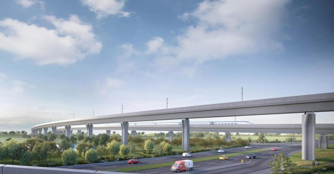 A visual of railway viaducts spanning a motorway in Warwickshire
