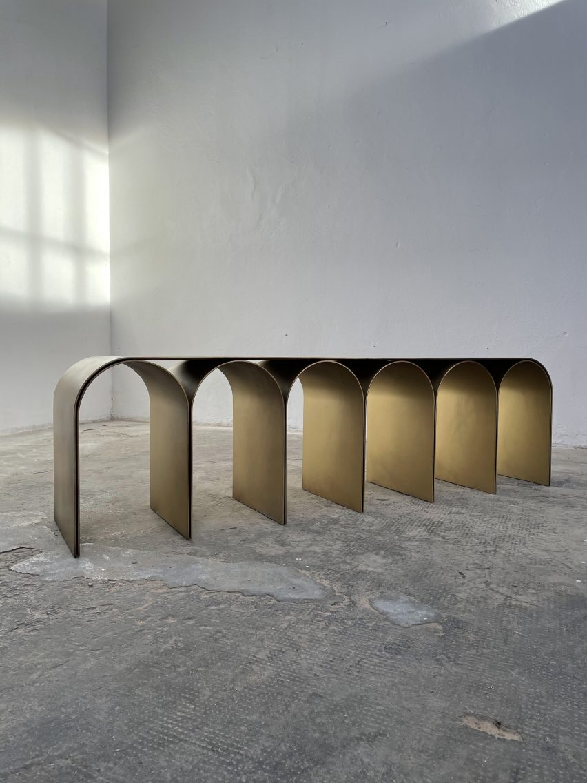 Gold Arch Console is a table by Pietro Franceschini