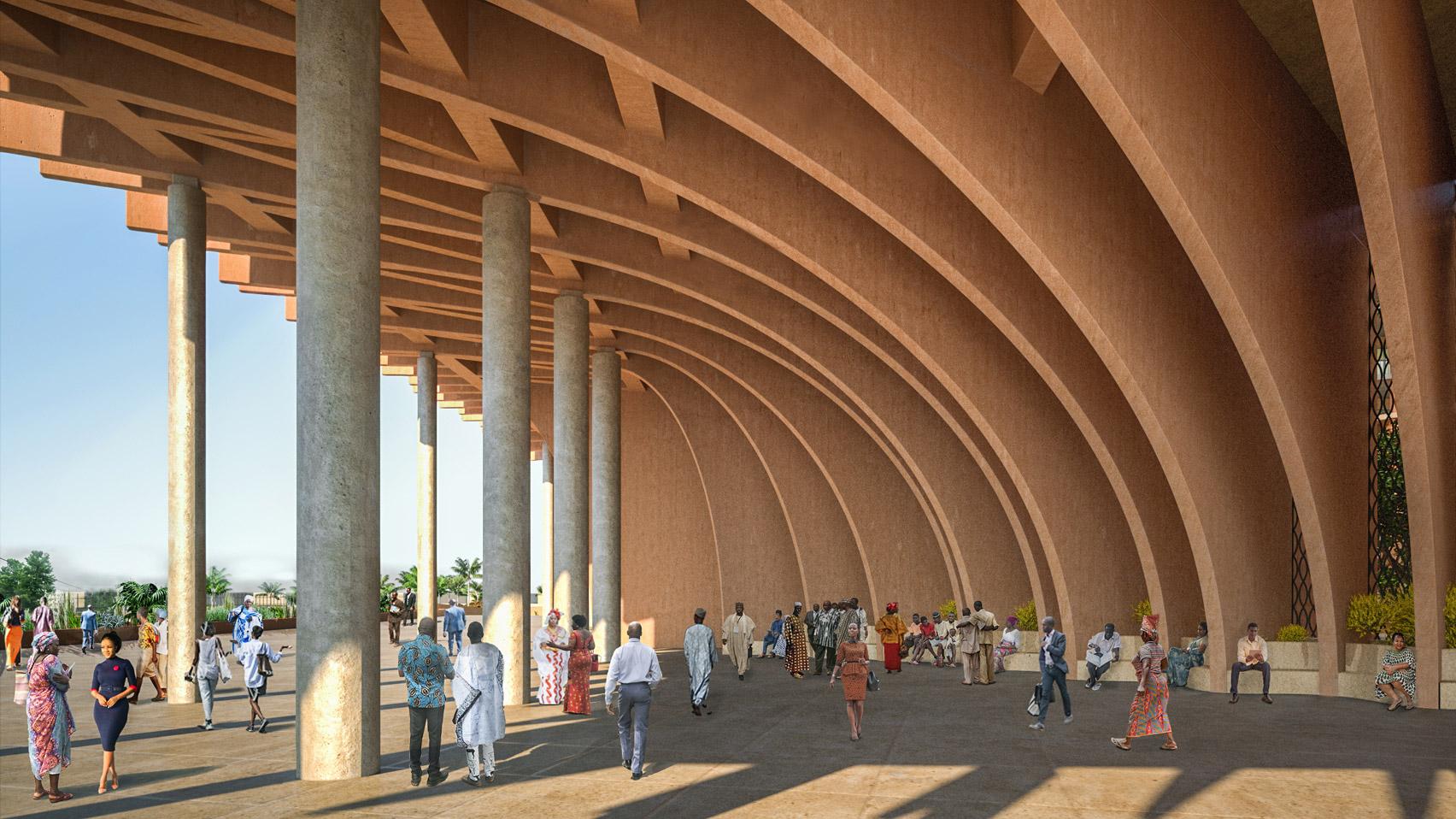 A shaded plaza at Benin parliament