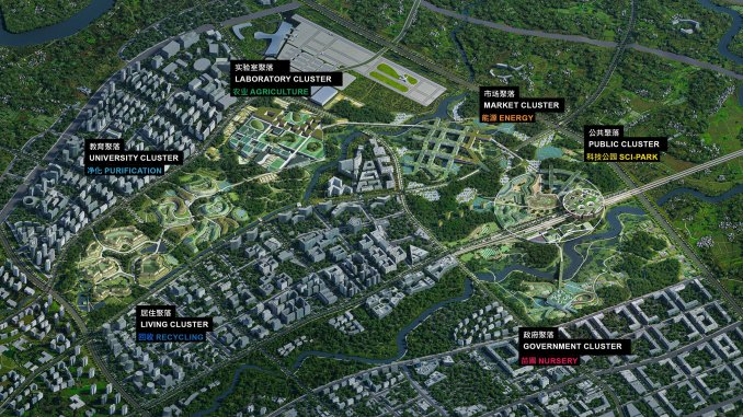 An overview of a masterplan by OMA and GMP for a site in Chengdu