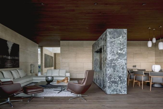 Verde Alpi marble in living room of Casa ZTG
